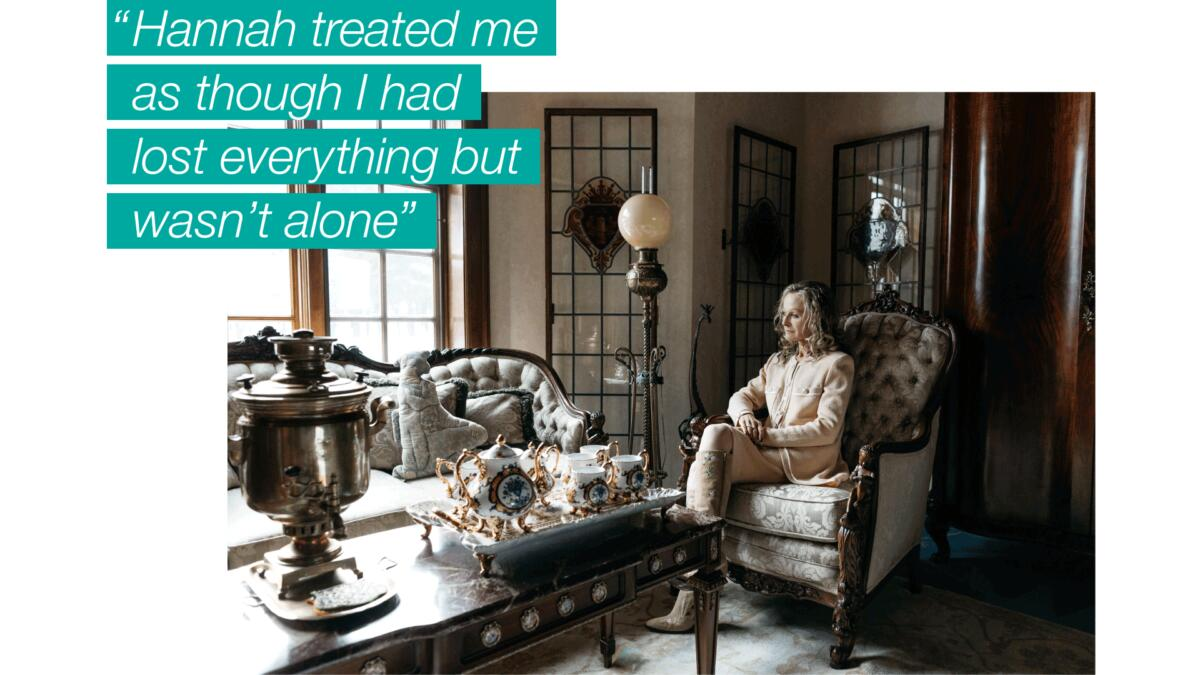 """A woman sitting in a living room with ornate furniture, overlaid with text that reads, """"Hannah treated me as though I had lost everything but wasn't alone."""""""