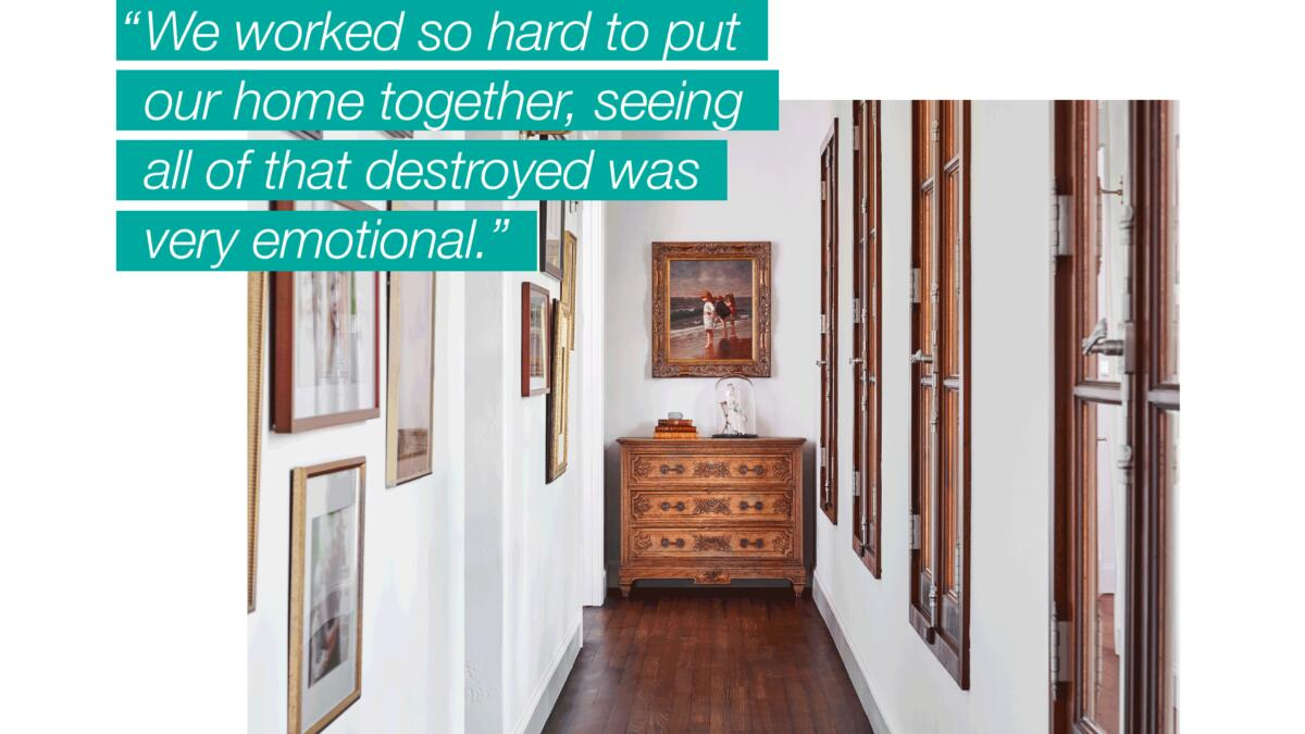 """A bright interior hallway decorated with framed photographs and a large, antique chest of drawers overlaid with text that reads, """"We worked so hard to put our home together, seeing all of that destroyed was very emotional."""""""