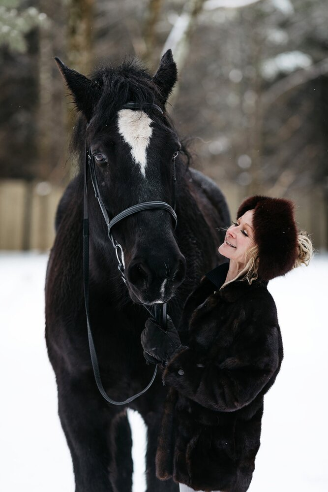 PURE member Darcel McDonald with her horse at her home in Wausau, Wisconsin.