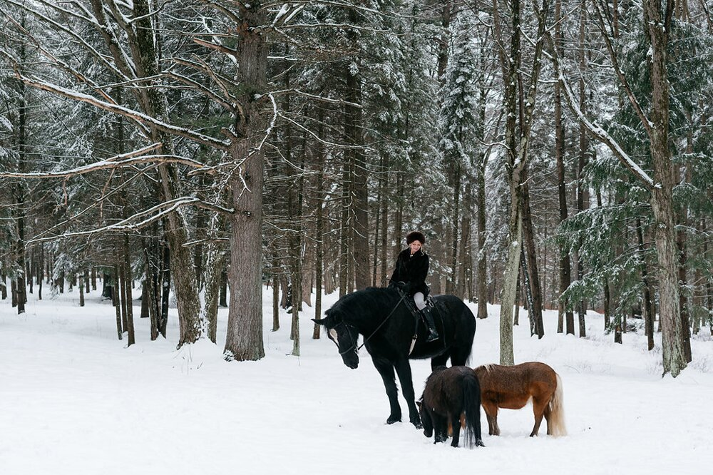 PURE member Darcel McDonald with her three horses at her home in Wausau, Wisconsin.